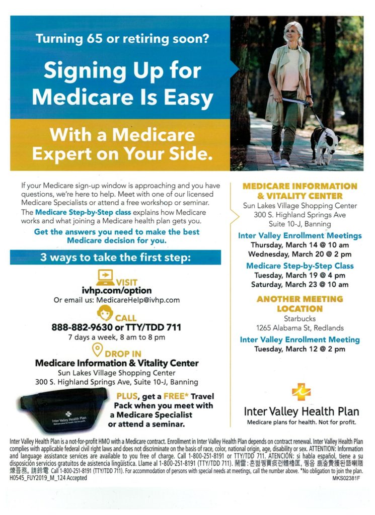 Medicare Step by Step @ Inter Valley Health Plan Medicare Information & Vitality Center | Banning | California | United States