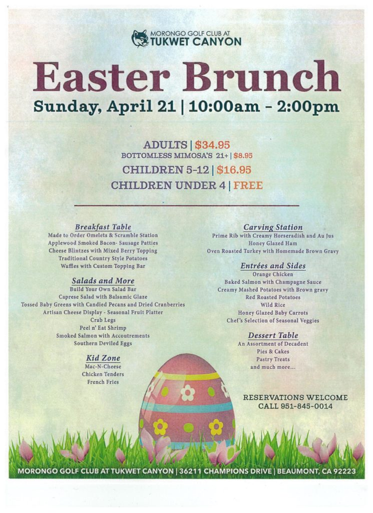 Easter Brunch @ Morongo Golf Club at Tukwet Canyon | Beaumont | California | United States