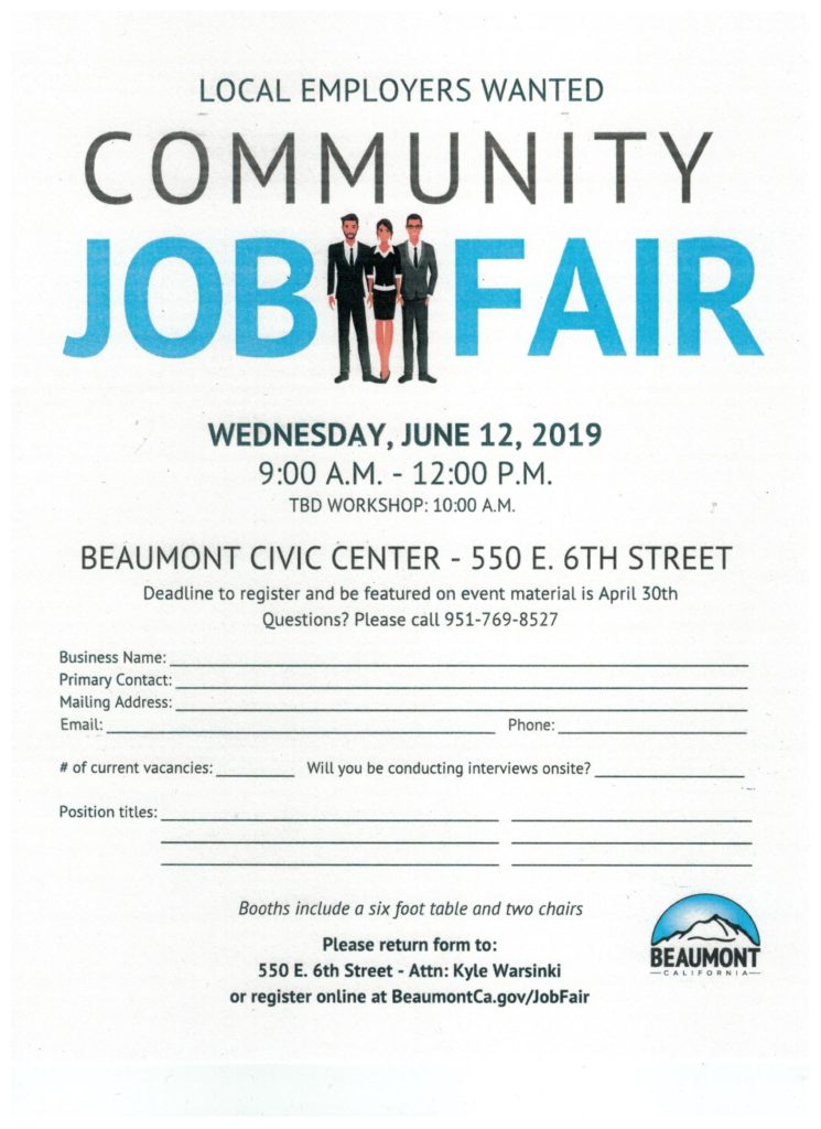 Local Employers Wanted - Community Job Fair @ Beaumont Civic Center | Beaumont | California | United States