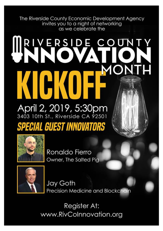 The Riverside County Economic Development Agency Invites you to the Innovation Month Kickoff @ Riverside County | Riverside | California | United States