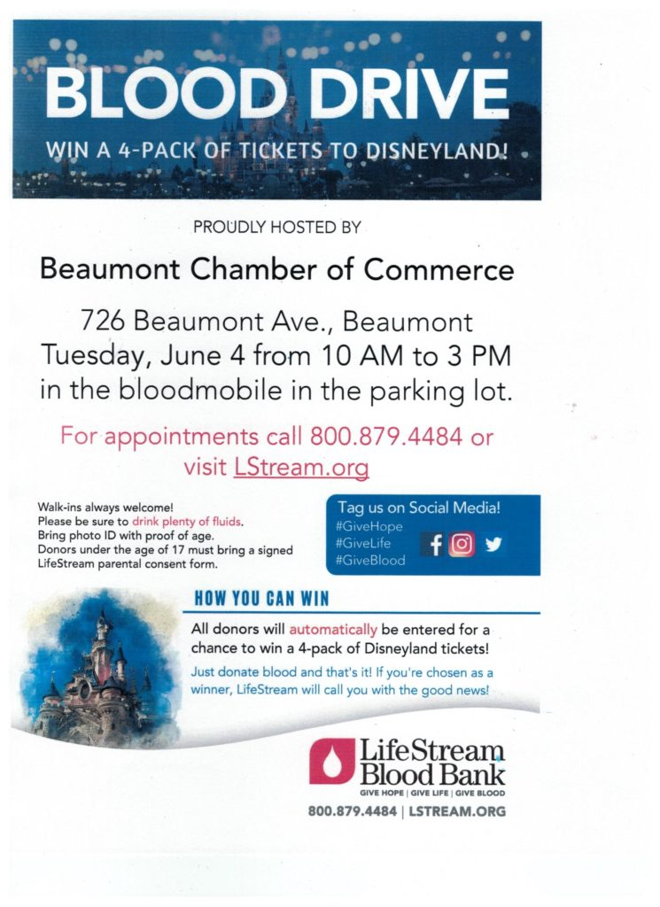 BLOOD DRIVE @ Beaumont Chamber of Commerce Parking Lot | Beaumont | California | United States
