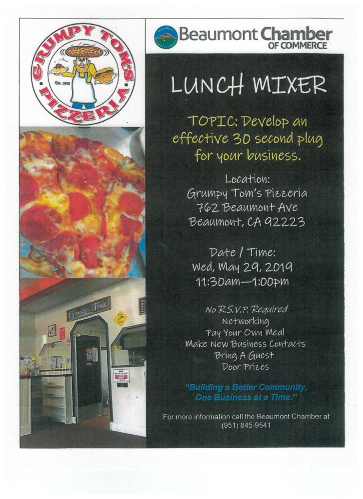 Beaumont Chamber-LUNCH MIXER @ Grumpy Tom's Pizzeria   Beaumont   California   United States