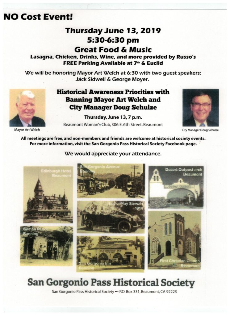 Historical Awareness Priorities - Banning Mayor Art Welch & City Manager Doug Schulze @ Beaumont Woman's Club | Beaumont | California | United States