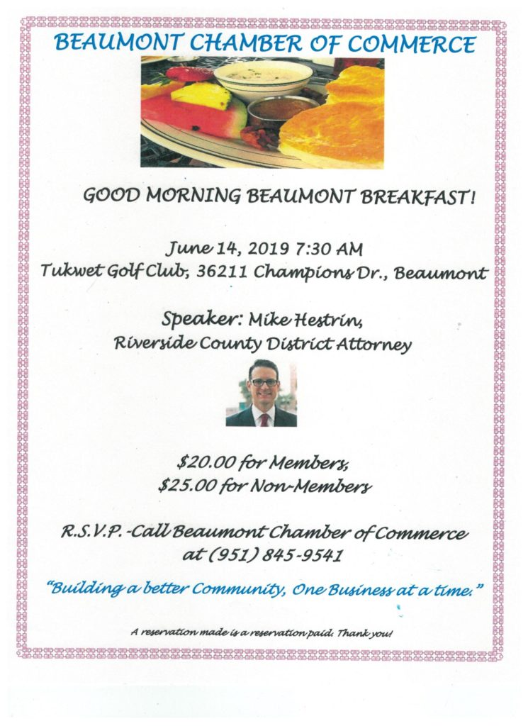 Good Morning Beaumont Breakfast @ Tukwet Golf Club | Beaumont | California | United States