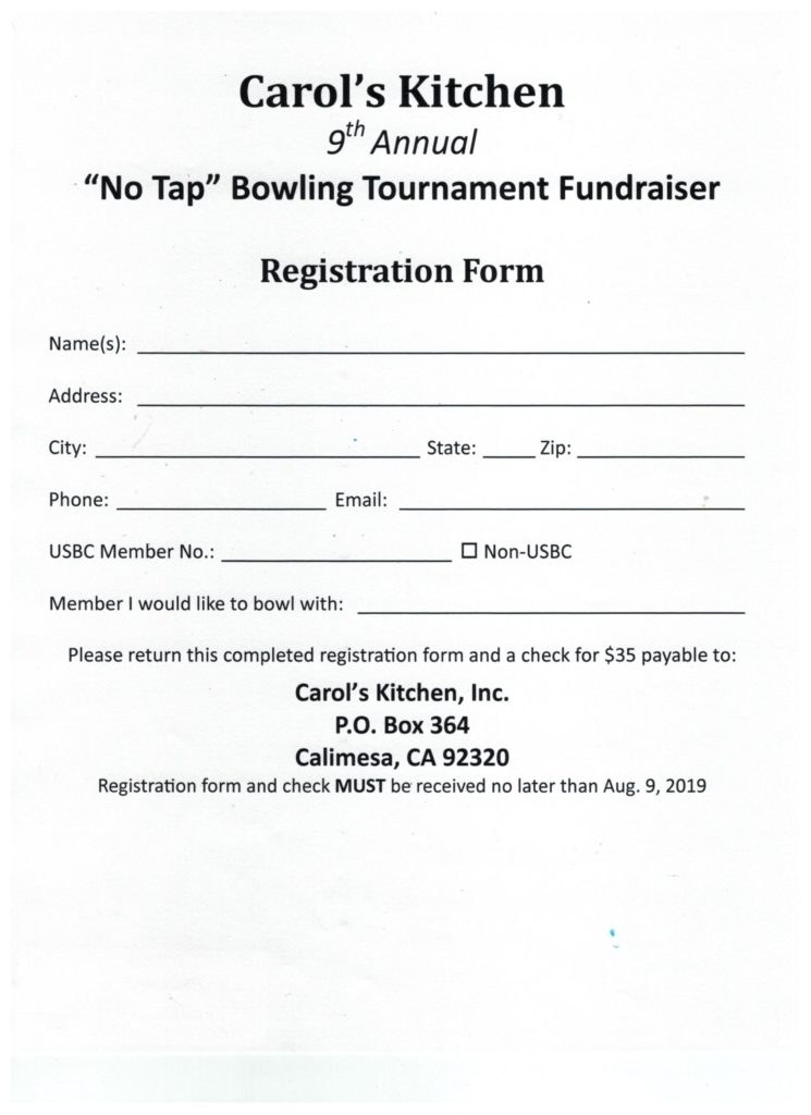 "Carol's Kitchen-9th Annual ""No Tap"" Bowling Tournament & Fundraiser @ Canyon Lanes 