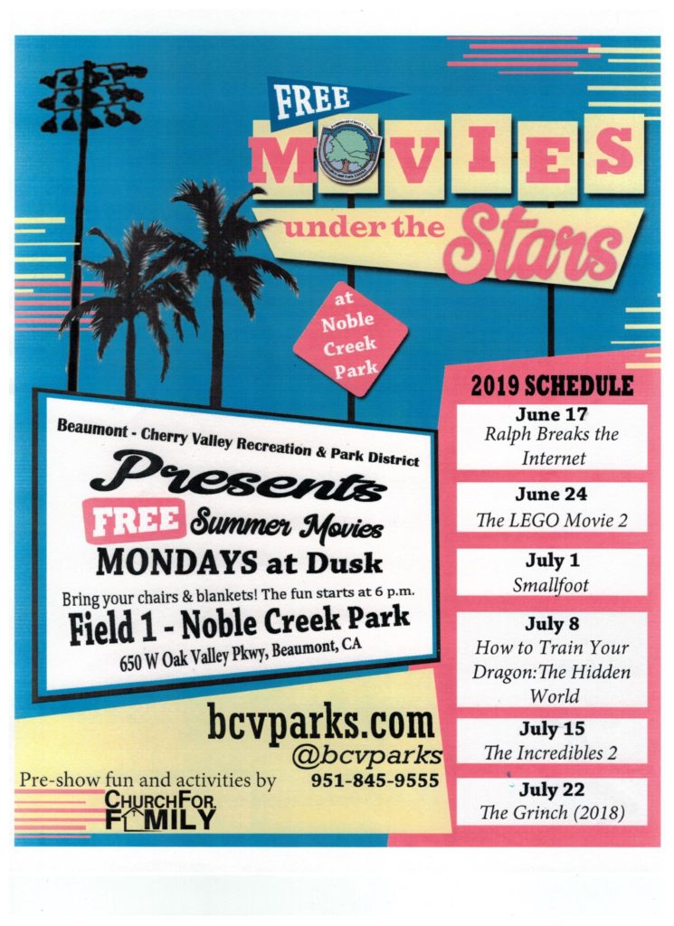 Free Movies Under the Stars @ Noble Creek Park - Field 1 | Beaumont | California | United States