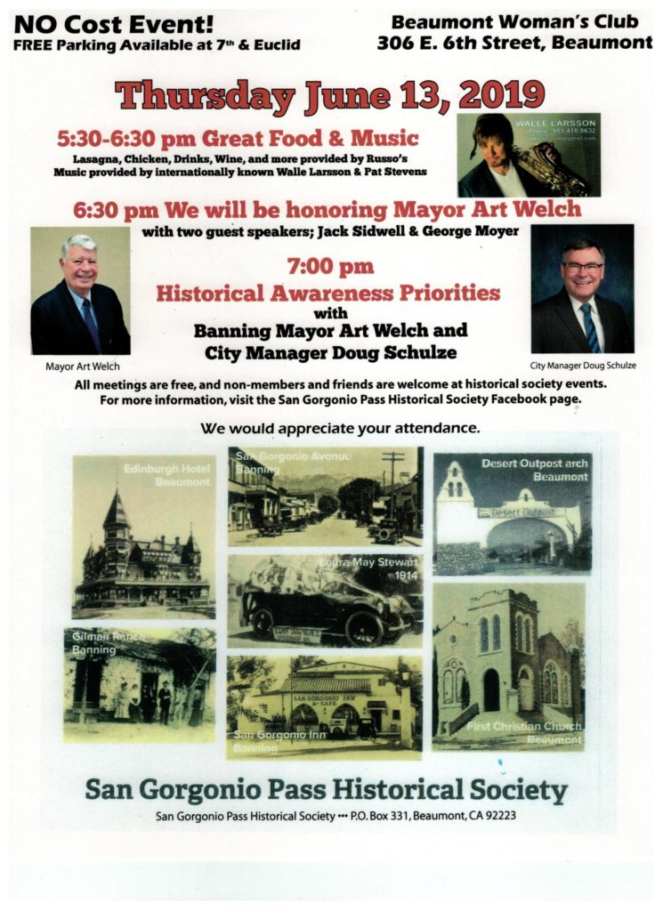 Historical Awareness Priorities with Banning Mayor Art Welch @ Beaumont Woman's Club | Beaumont | California | United States