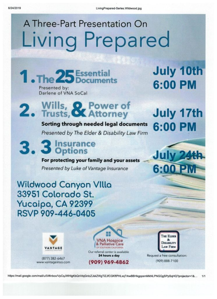 A Three-Part Presentation on Living Prepared @ Wildwood Canyon Villa | Yucaipa | California | United States
