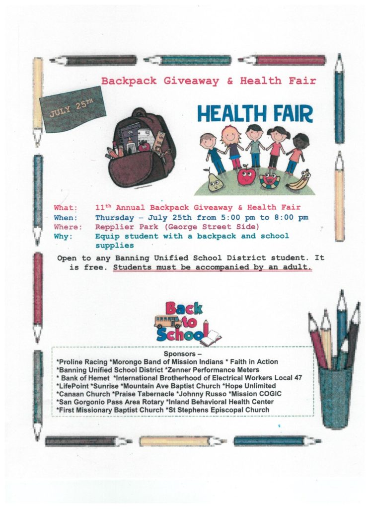 Backpack Giveaway & Health Fair @ Repplier Park | Banning | California | United States