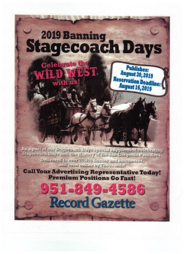 Advertising 2019 Stagecoach Days - Record Gazette @ Record Gazette | Banning | California | United States