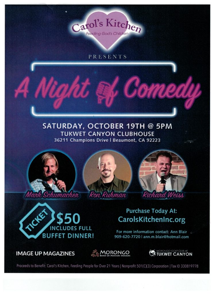 A Night of Comedy Presented by Carol's Kitchen @ Tukwet Canyon Clubhouse | Beaumont | California | United States
