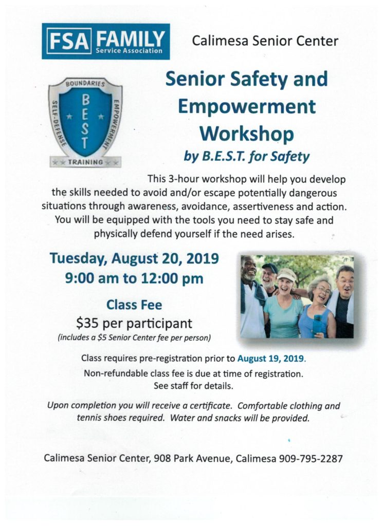 Senior Safety and Empowerment Workshop @ Calimesa Senior Center | Calimesa | California | United States