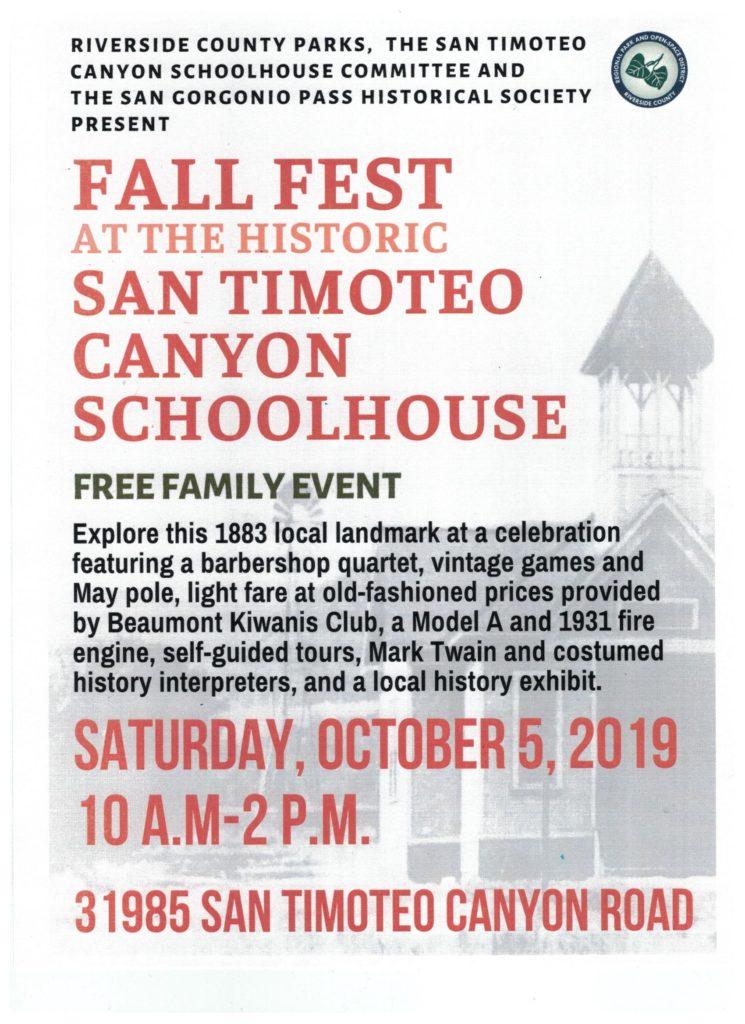 Fall Fest at San Timoteo Canyon Schoolhouse @ San Timoteo Canyon Schoolhouse | Redlands | California | United States