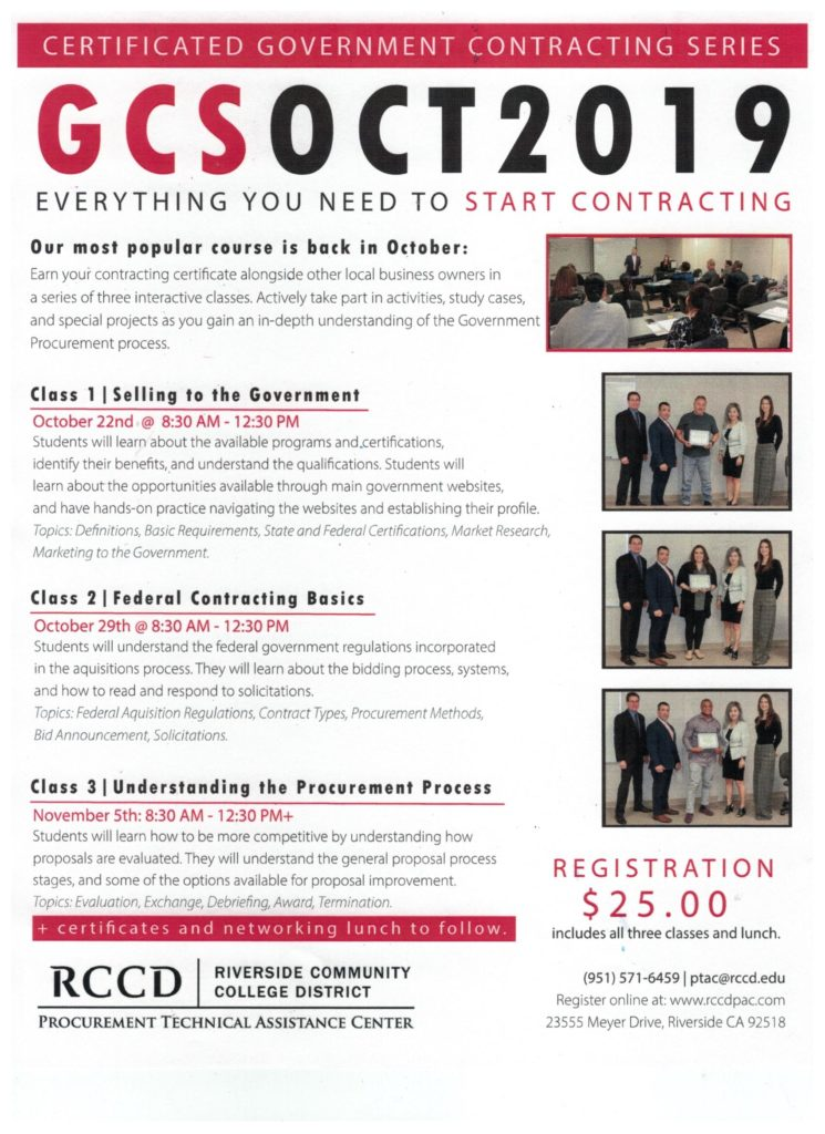 Gov't Contracting Series @ Riverside Community College District | March Air Reserve Base | California | United States