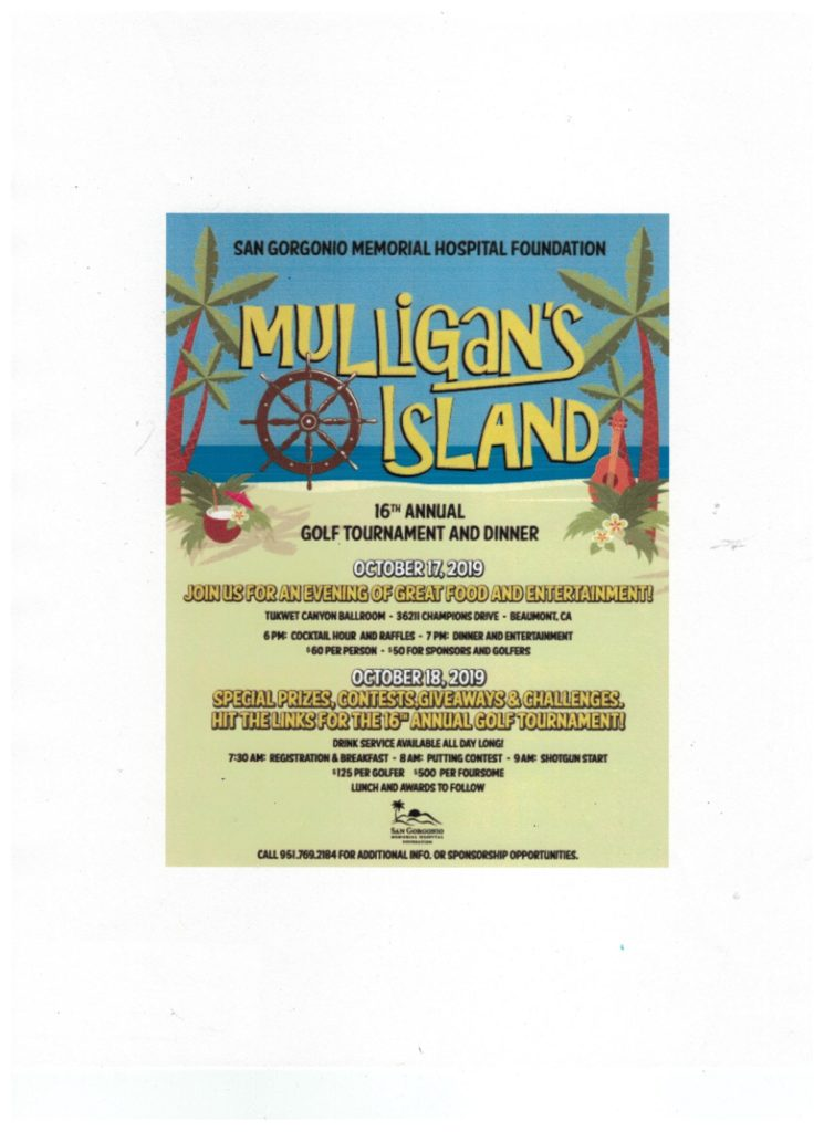 Golf Tournament & Dinner- Mulligan's Island @ Tukwet Cayon Ballroom | Beaumont | California | United States