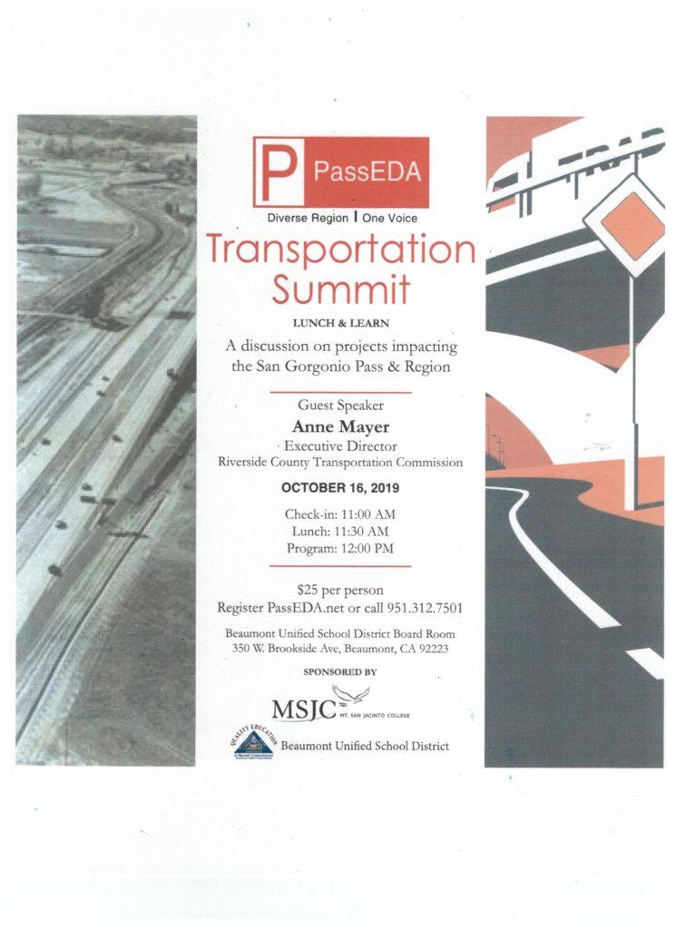 Pass EDA Transportation Summit @ BUSD Board Room | Beaumont | California | United States