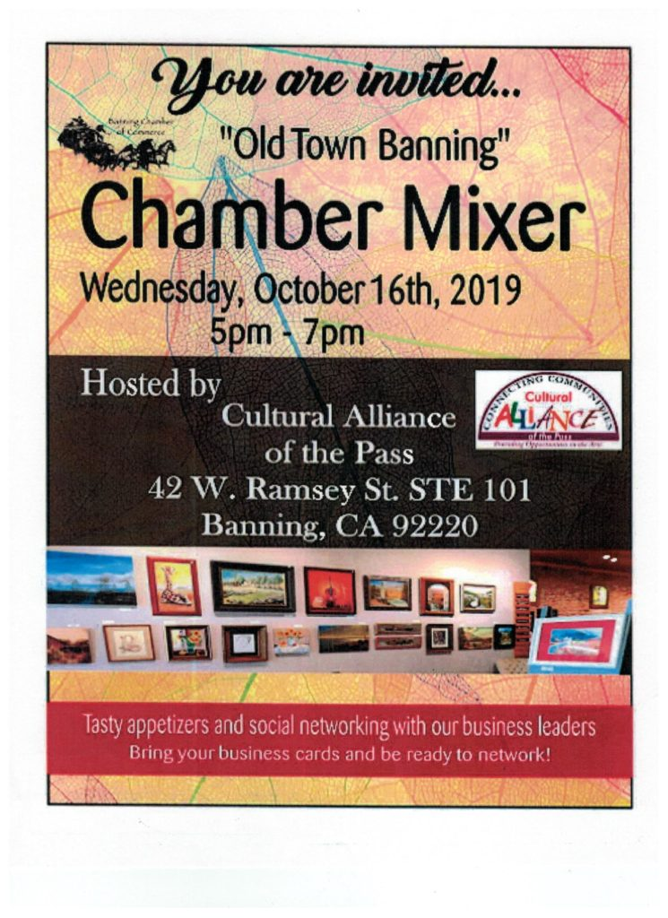Banning Chamber Mixer @ Cultural Alliance of the Pass | Banning | California | United States