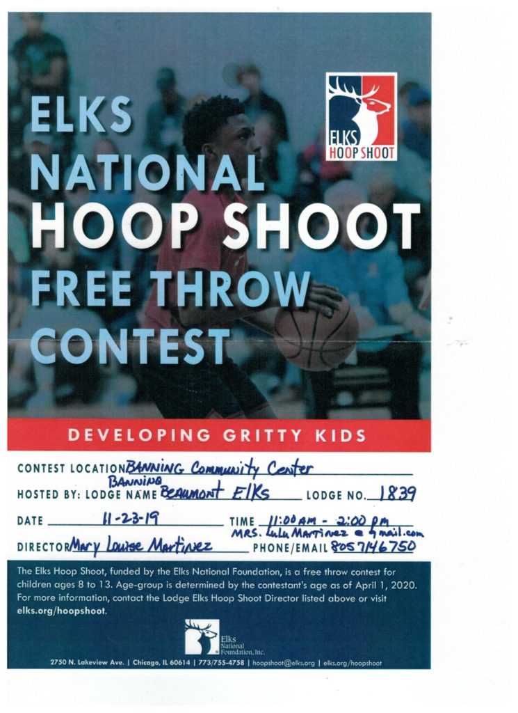 Elks Lodge #1839 Hoop Shoot @ Banning Community Center | Banning | California | United States
