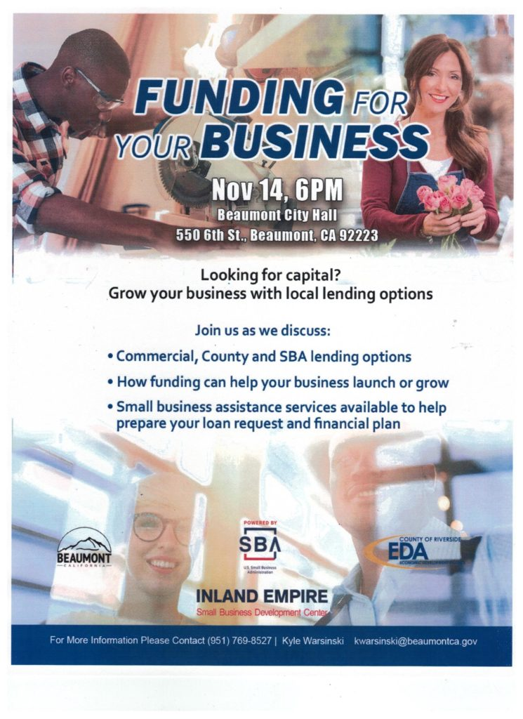 Funding for Your Business @ Beaumont City Hall | Beaumont | California | United States