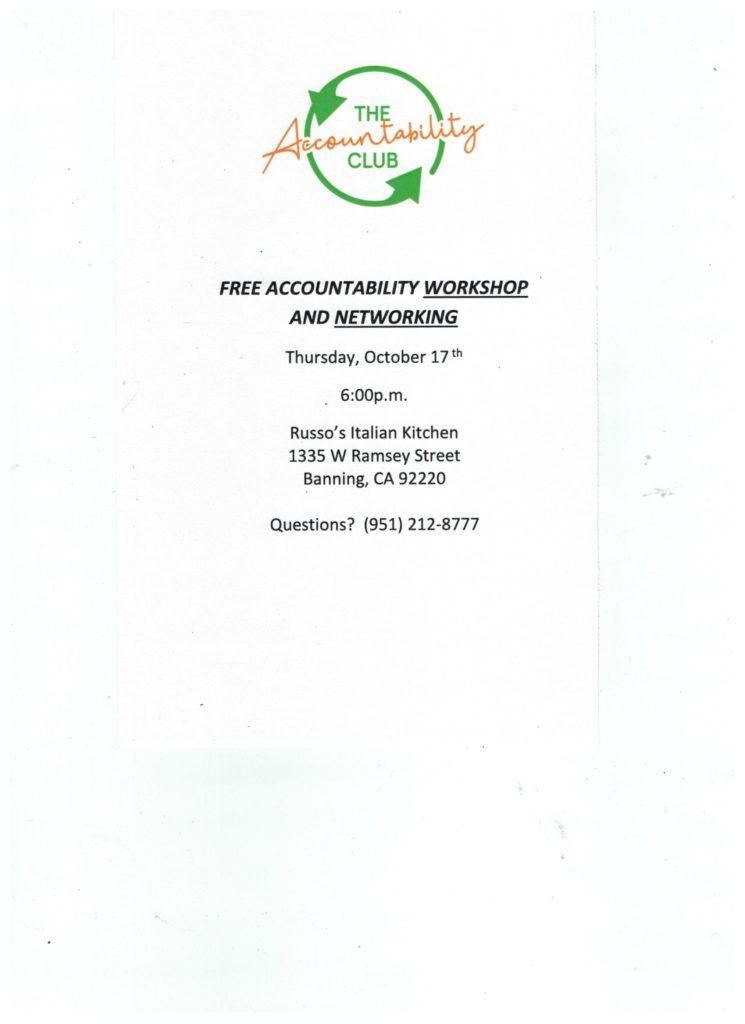 Accountability Workshop @ Russo's Italian Kitchen | Banning | California | United States
