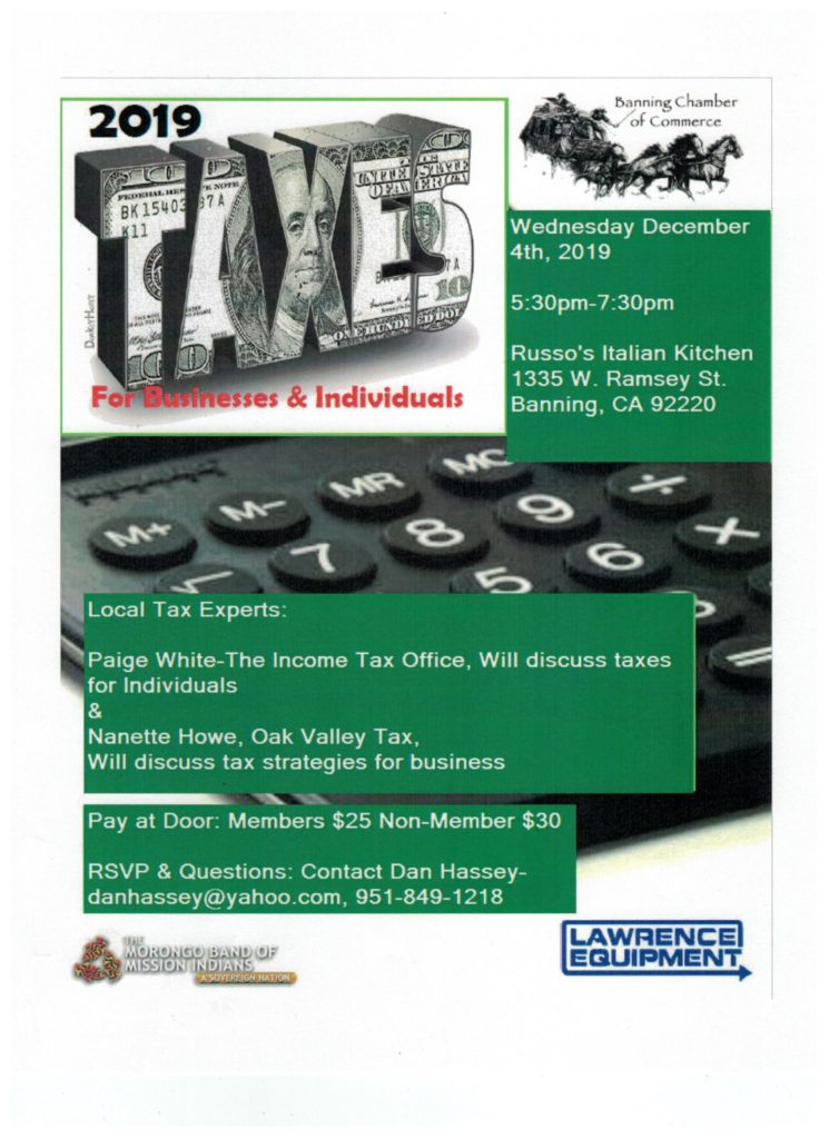 Taxes for Individuals & Businesses @ Russo's Italian Kitchen | Banning | California | United States