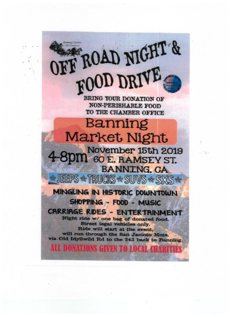 Off Road Night & Food Drive @ Historic Downtown Banning | Banning | California | United States