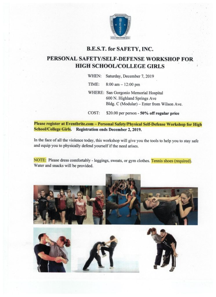Personal Safety/ Self-Defense Workshop @ San Gorgonio Memorial Hospital | Banning | California | United States