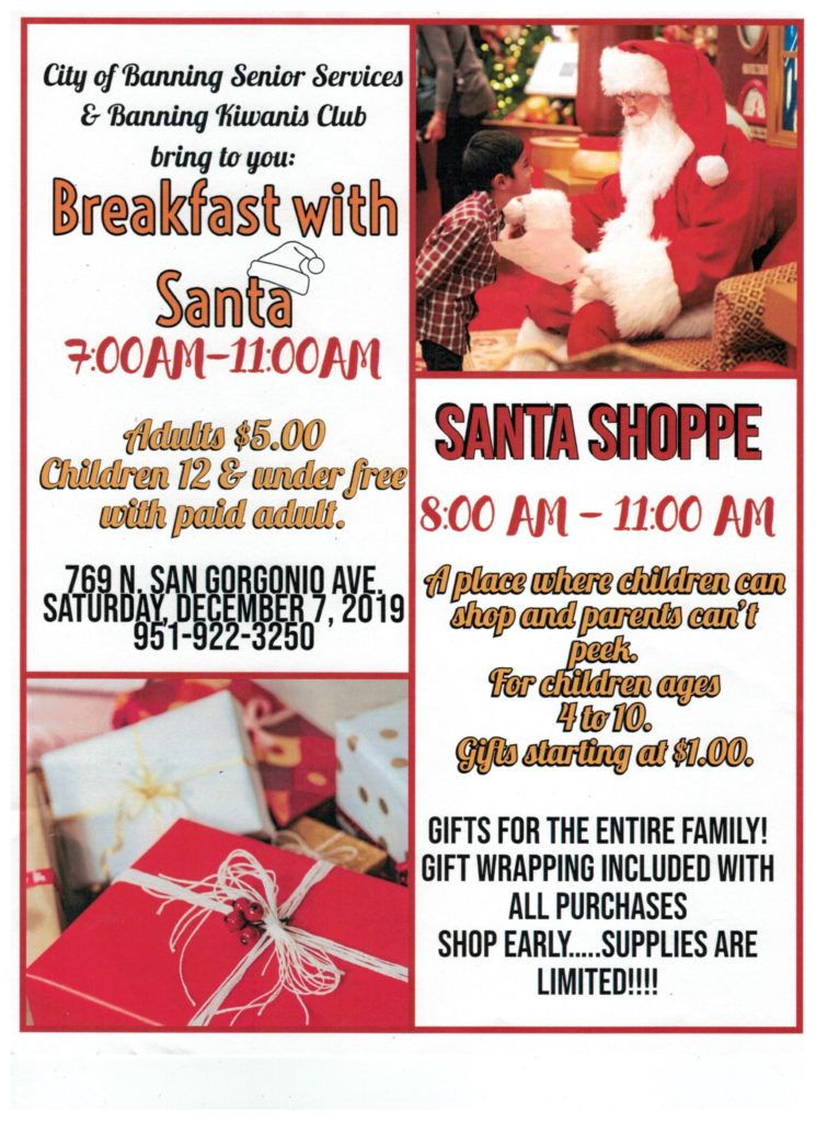 Breakfast with Santa & Shoppe @ City of Banning Senior Services & Banning Kiwanis Club | Banning | California | United States