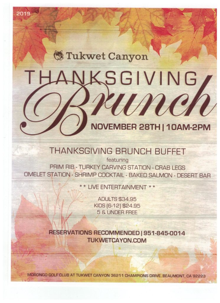 Thanksgiving Brunch @ Morongo Golf Club at Tukwet Canyon | Beaumont | California | United States
