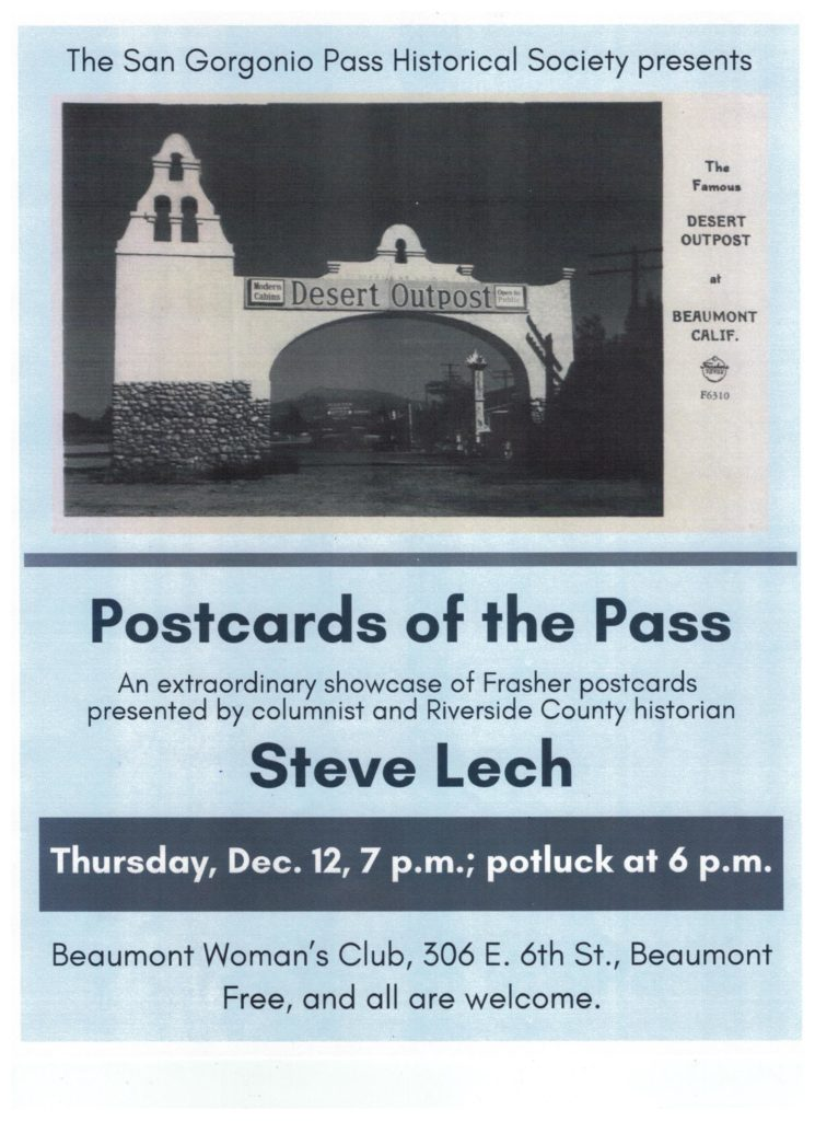Postcards of the Pass with Historian Steve Lech @ Beaumont Woman's Club | Beaumont | California | United States