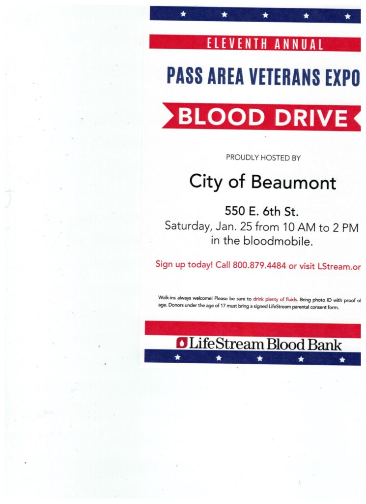 Blood Drive Pass Area Veterans Expo @ City of Beaumont | Beaumont | California | United States