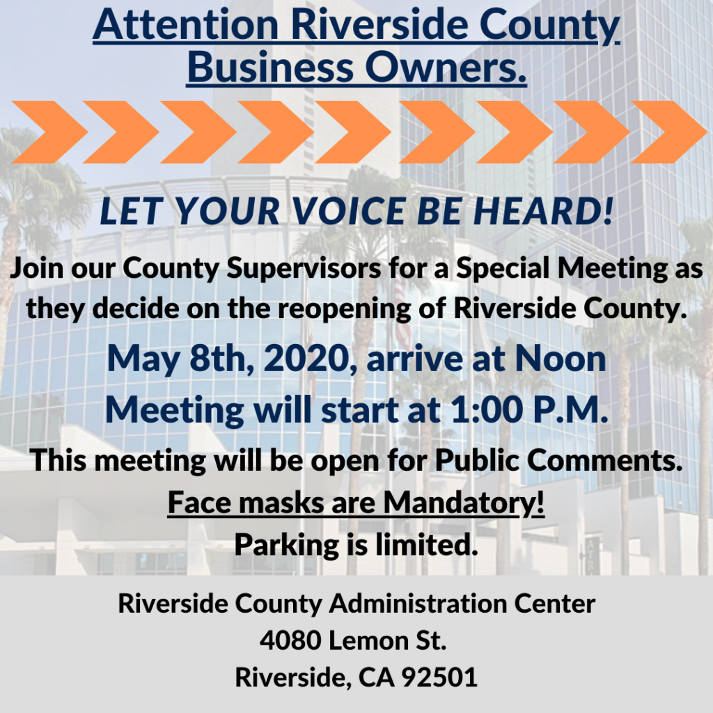 Riverside County Special Meeting @ Riverside County Administration Center | Riverside | California | United States