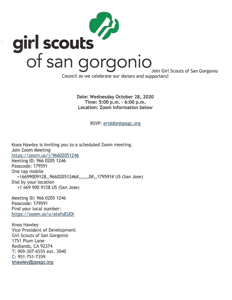 Girl Scouts of San Gorgonio Zoom @ https://zoom/us/j/96602051246