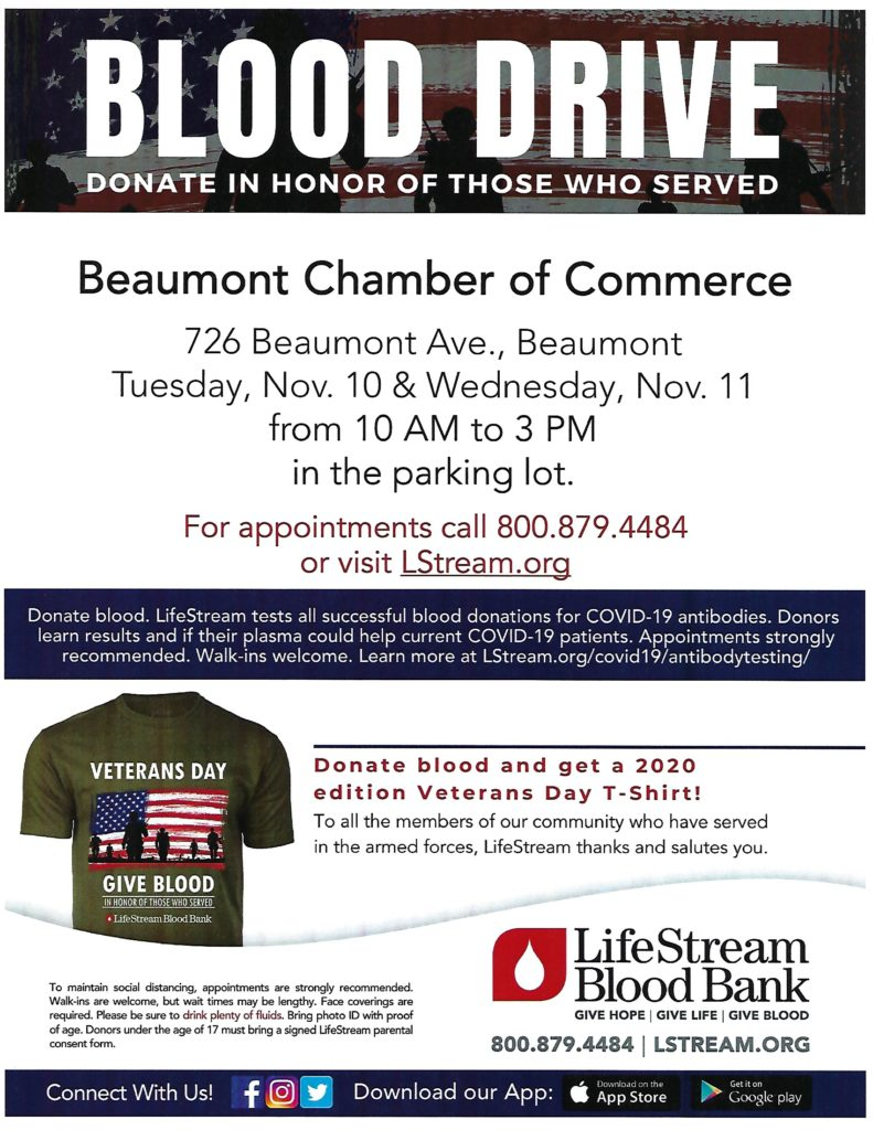 Blood Drive @ Beaumont Chamber of Commerce   Beaumont   California   United States