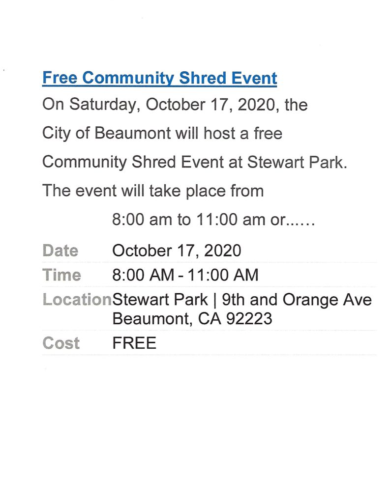Free Community Shred Event @ Stewart Park | Beaumont | California | United States