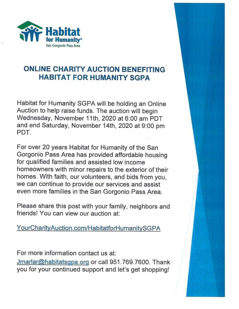 Habitat for Humanity Auction @ yourcharityauction.com/HabitatForHumanitySGPA
