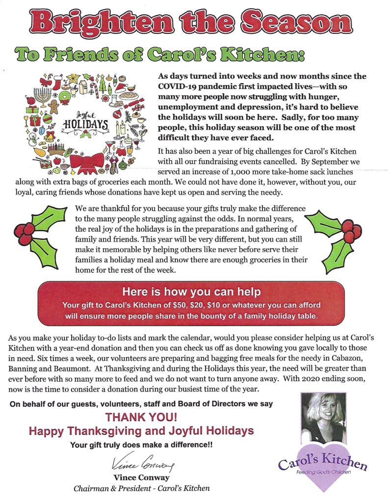 Please Give to Carol's Kitchen @ Carol's Kitchen   Beaumont   California   United States
