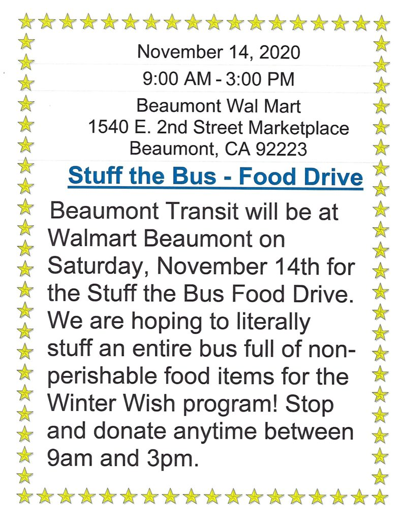 """""""Stuff the Bus"""" Food Drive @ Beaumont Wal-Mart   Beaumont   California   United States"""