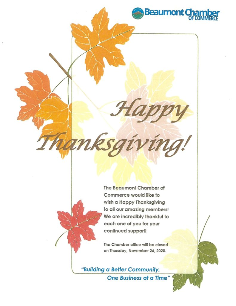 Happy Thanksgiving! @ Beaumont Chamber of Commerce   Beaumont   California   United States