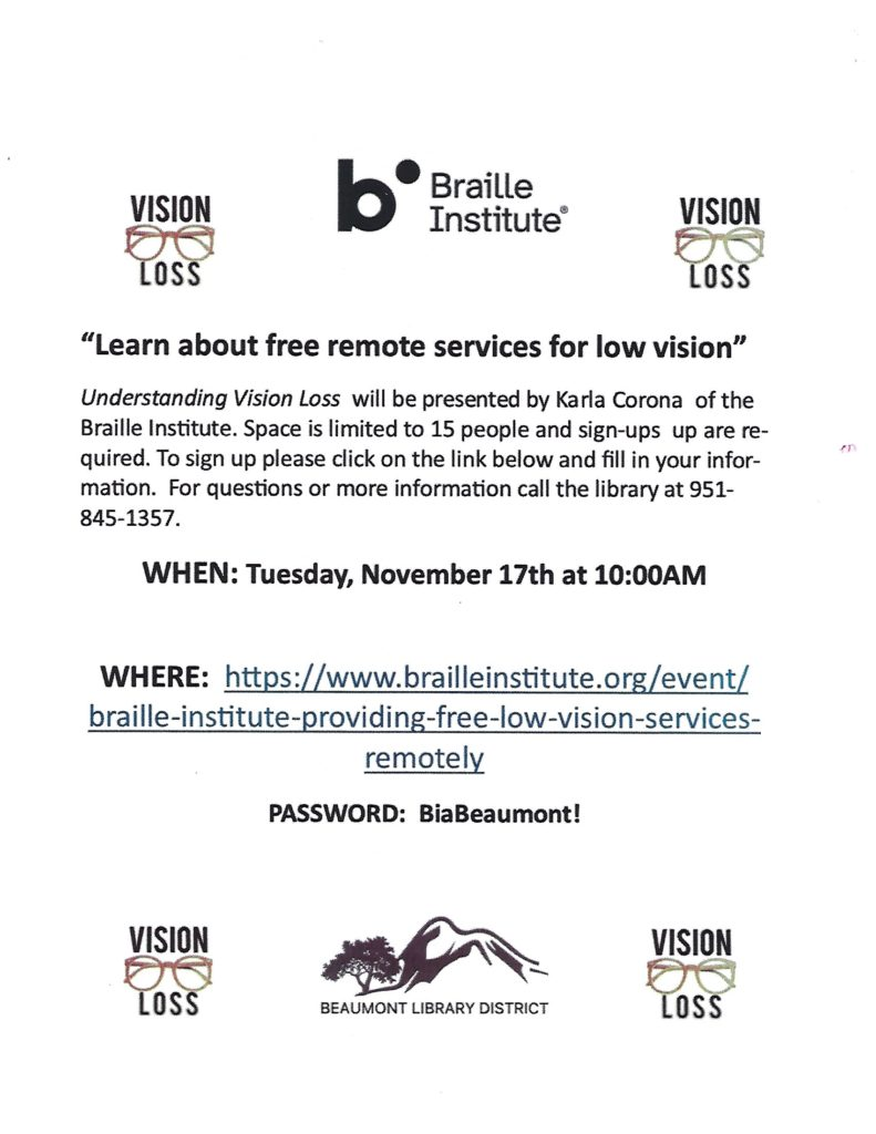"""""""Understanding Vision Loss"""" @ https://www.brailleinstitute.org/event/braille-institute-providing-free-low-vision-services-remotely"""