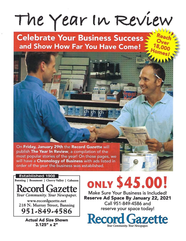 Last Day to Reserve Ad Space @ Record Gazette | Banning | California | United States