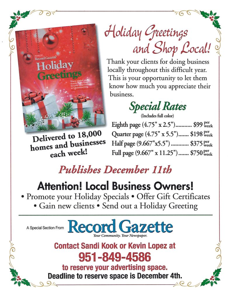 Deadline to Advertise @ Record Gazette