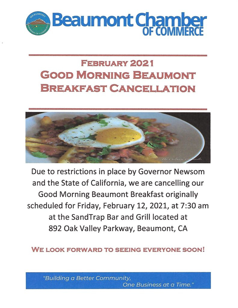 Cancellation of Good Morning Beaumont Breakfast @ SandTrap Bar & Grill | Beaumont | California | United States