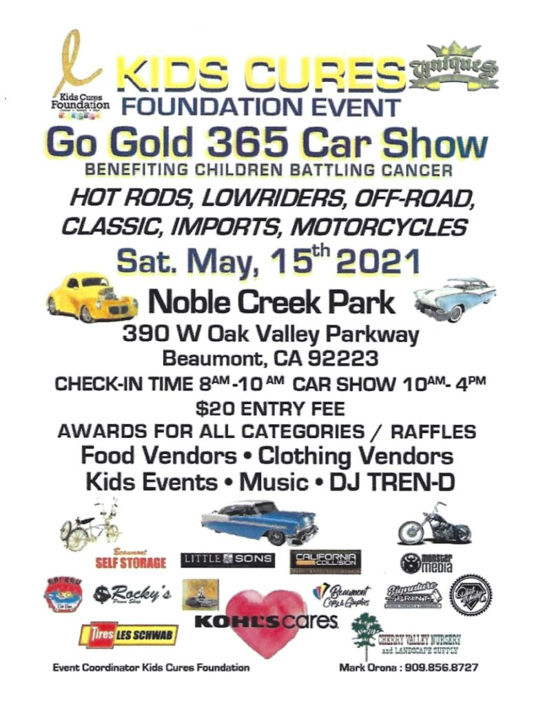 Kids Cures Car Show @ Noble Creek Park | Beaumont | California | United States