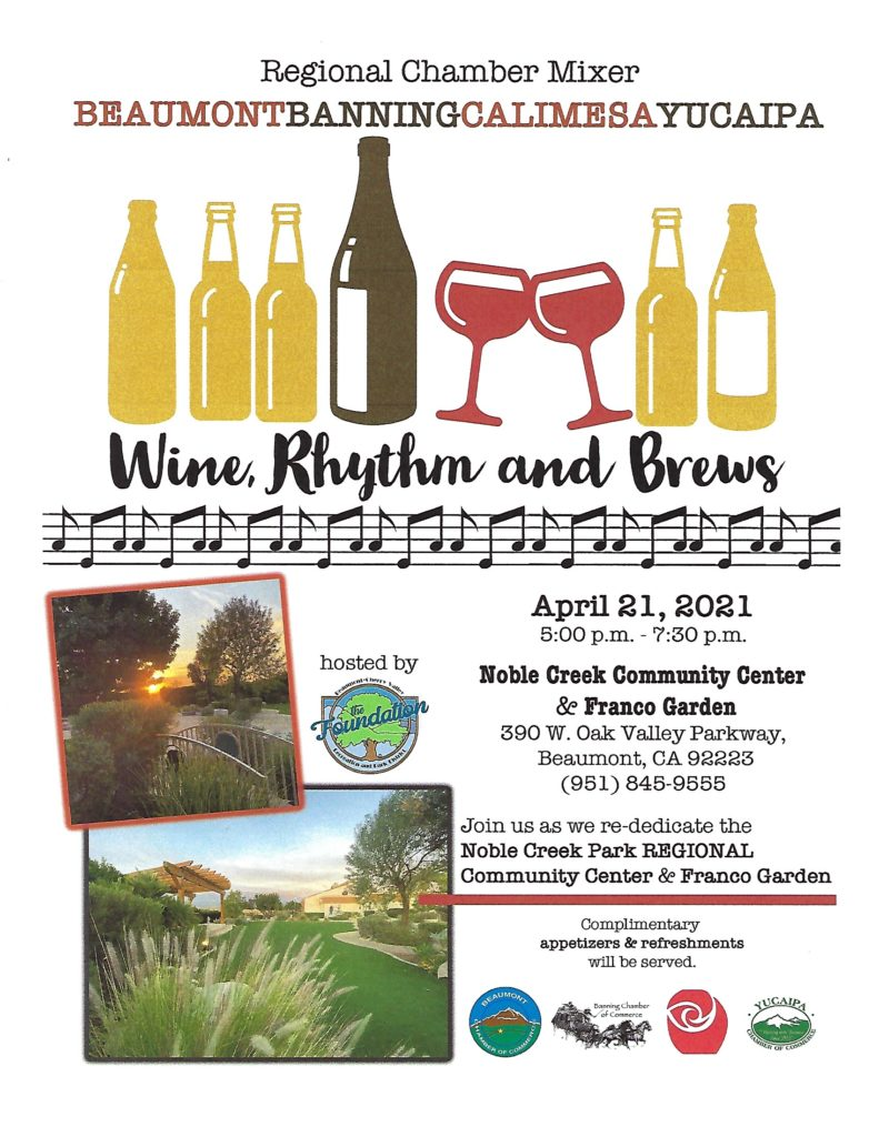 Regional Chamber Mixer @ Noble Creek Community Center & Franco Garden | Beaumont | California | United States