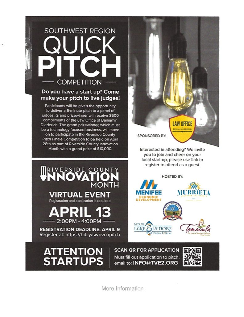 Quick Pitch Competition @ Riverside County | California | United States