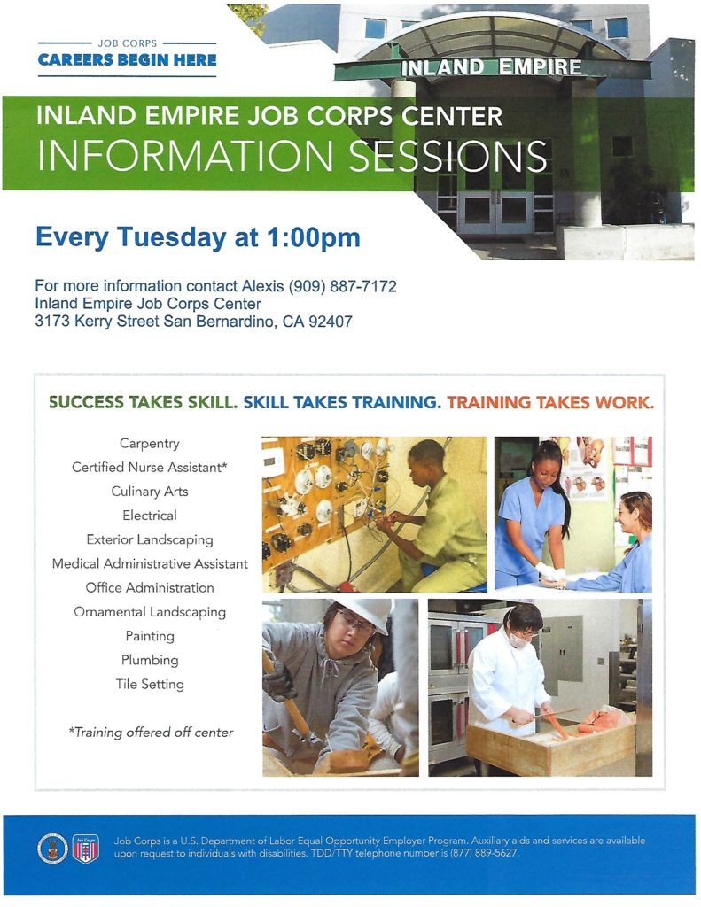 IE Job Corps Info Sessions @ Inland Empire Job Corps Center | San Bernardino | California | United States