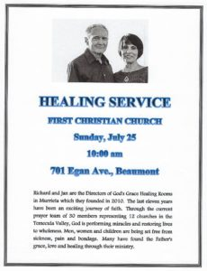 First Christian Church Healing Service. @ First Christian Church | Beaumont | California | United States