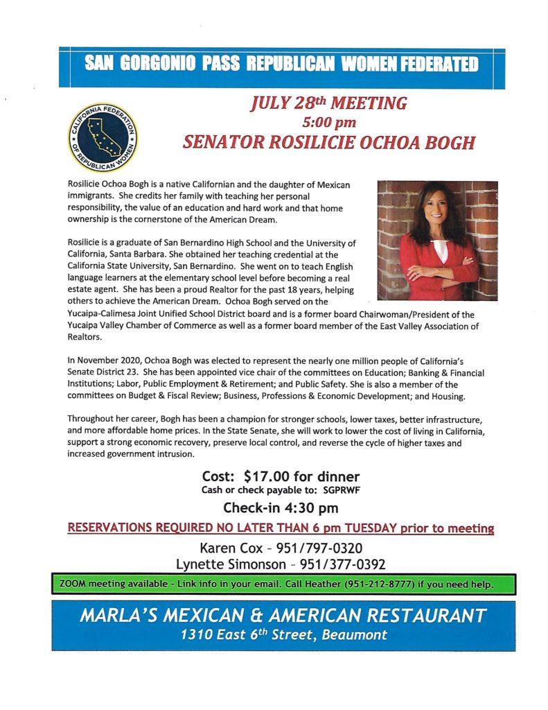 Senator Ochoa Bogh Dinner @ Marla's Mexican & American Restaurant | Beaumont | California | United States