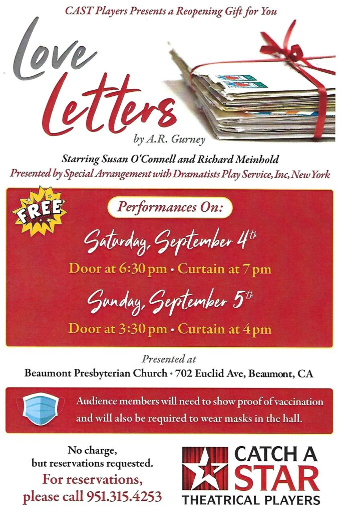 Love Letters Play @ Beaumont Presbyterian Church | Beaumont | California | United States